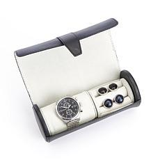 Royce Leather Watch Roll With Cufflink Storage