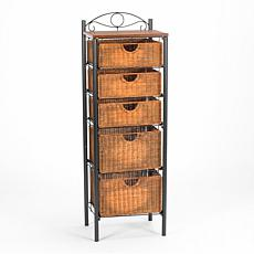 Rugeley Iron and Wicker 5-Drawer Unit