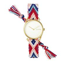 RumbaTime Jane Goldtone Reds, White & Blue  Braid Watch