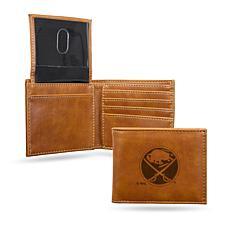 Sabres  Laser-Engraved Billfold Wallet - Brown