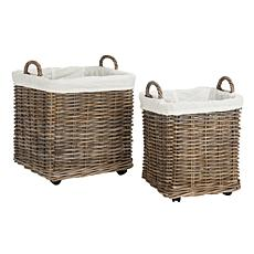 Safavieh Amari Rattan Square Set Of 2 Baskets With Whee