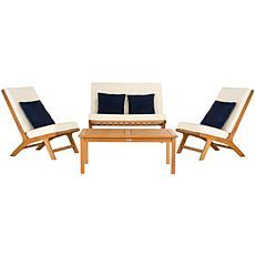 Safavieh Chaston 4-piece Outdoor Living Set with Accent Pillows