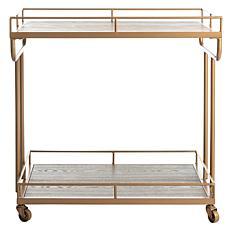 Safavieh Dawson 2-Tier Gold Rectangular Bar Cart