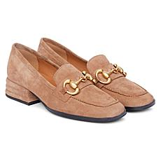 Saint G Jenny Mustard Suede Block Heels Leather or Suede Loafer