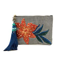 Sam Edelman Sheila Raffia Embroidered Clutch