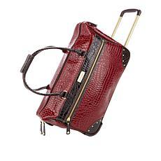 Samantha Brown Classic Wheeled Croco Embossed Weekender Bag