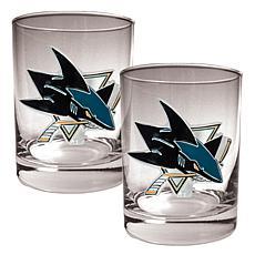 San Jose Sharks 2pc Rocks Glass Set