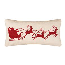 Santa Sleigh on Cream Rice Stitch Pillow