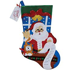 "Santa's List Stocking 18"" Felt Applique Kit"