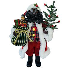 "Santa's Workshop 15"" Black Tartan Plaid Santa"
