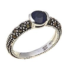 Sapphire and Marcasite Sterling Silver Ring - September