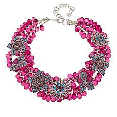 Sassy Jones Callie Pavé Floral Bib Necklace with Removable Brooches