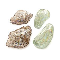 Sea Glass™ Set of 4 Lustrous Shell Plates