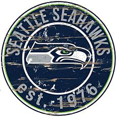 Seattle Seahawks Round Distressed Sign