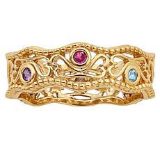 Secret Garden Sterling Filigree Floating Hearts Family Birthstone Ring