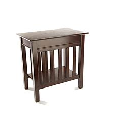 SEI Mission Style Side Table with USB Ports