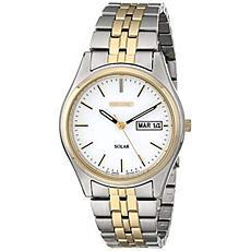 Seiko Men's 2-Tone White Dial Solar-Powered Bracelet Watch
