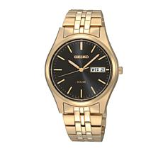 Seiko Men's Black Dial Date Feature Solar Movement Bracelet Watch