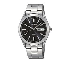 Seiko Men's Black Dial Stainless Steel Solar Watch