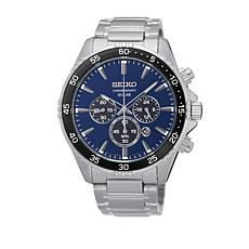 Seiko Men's Blue Dial Solar-Powered Stainless Steel Chronograph Watch