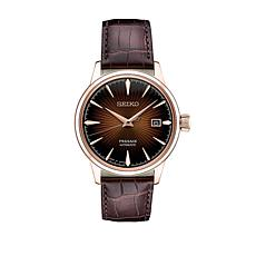Seiko Men's Rosetone Brown Leather Strap Automatic Watch