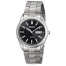 Seiko Men's Stainless Steel Black Dial Solar Watch
