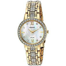 Seiko Women's Goldtone Stainless Steel Crystal Mother-of-Pearl Watch