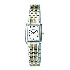 Seiko Women's Two-Tone Stainless Steel Rectangular Dress Watch