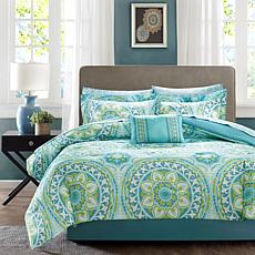 Serenity King 9-piece Complete Bed and Sheet Set - Aqua