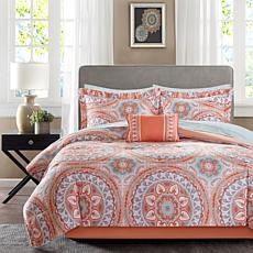 Serenity King 9pc Complete Bed and Sheet Set - Coral