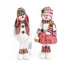 Set of 2 28-inch Plush Snowman Figures