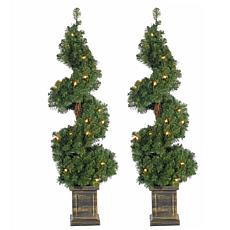 Set of 2 3-1/2' Pre-Lit Potted Spiral Trees