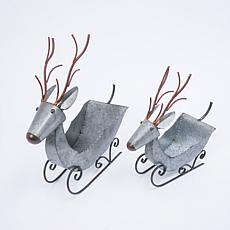 Set of 2 Galvanized Metal Holiday Deer Sleds