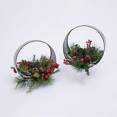 Set of 2 Oval Metal Table-Top Candle Holders with Floral Accents