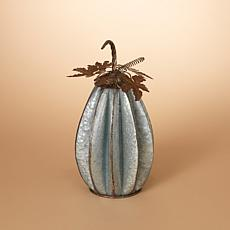 Set of 2 Rustic Sculpted Metal Silver Pumpkin with Leaves