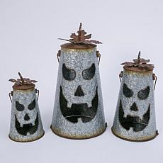 Set of 3 Hammered Metal Jack-O-Lantern Luminaries with Leaf Details