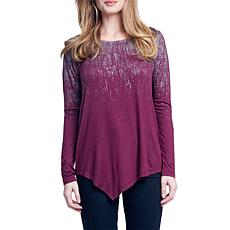 Seven7 Long Sleeve Top with Asymmetrical Hem and Foil Detail