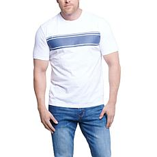 Seven7 Men's Short-Sleeve Stripe Top - White/Slate Blue