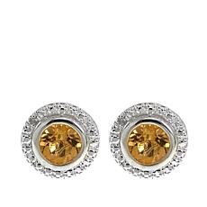 Sevilla Silver™ 0.82ctw Citrine and Diamond Accent Stud Earrings