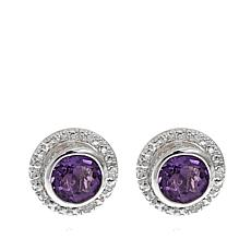 Sevilla Silver™ 0.84ctw Amethyst and Diamond Accent Stud Earrings