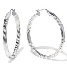 "Sevilla Silver™ 1-9/16"" Diameter Flat Twist Hoop Earrings"