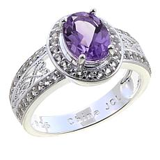 Sevilla Silver™ 1.50ctw Oval Amethyst and White Topaz Ring