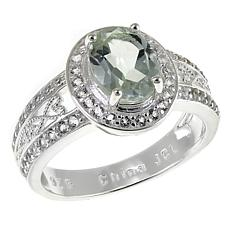Sevilla Silver™ 1.51ctw Oval Prasiolite and White Topaz Ring