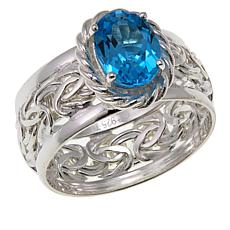 Sevilla Silver™ 1.62ct Blue Topaz Byzantine Band Ring