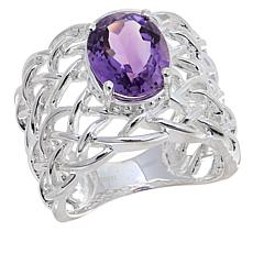 Sevilla Silver™ 2.36ct Amethyst Webbed Band Ring