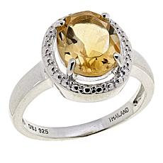 Sevilla Silver™ 2.4ct Oval Citrine Halo Ring
