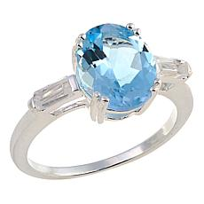 Sevilla Silver™ 2.91ctw Oval Blue Topaz and White Topaz Ring