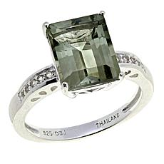 Sevilla Silver™ 3.69ctw Emerald-Cut Prasiolite and White Topaz Ring