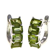 Sevilla Silver™ 5.52ctw Peridot Emerald-Cut Hoop Earrings