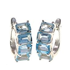 Sevilla Silver™ 5.6ctw Emerald-Cut Blue Topaz Hugger Hoop Earrings